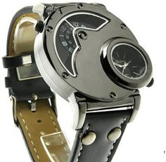 LynHee Steampunk Mens Multifunctional Double Display Luxury Leather Band Quartz | Jewelry & Watches, Watches, Parts & Accessories, Wristwatches | eBay!