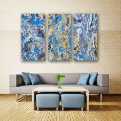"""Free Flow is an original abstract triptych painting with 3 unique panels featuring organic forms that flow and dance across the canvas. The similar pastel color scheme used across all three pieces, provides asymmetrical balance.  This large piece is a stunning focal point painting for contemporary interiors. The painting size is 45"""" W x 30"""" H x 1.5"""" D (each panel is 15"""" W x 30"""" H) Acrylic on Canvas £2,715"""
