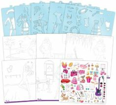 """Fashion Angels Barbie I Can Be Sketch Portfolio by Fashion Angels. $9.87. Spiral bound sketch portfolio with plastic cover. 5 removable plastic stencil sheets with 166 stencil designs. 95 foil stickers. Instructions included. 40 barbie formatted sketch pages featuring 5 different scenes. From the Manufacturer                Design wear-to-work perfect outfits for Barbie with the Barbie """"I Can Be…"""" Sketch Portfolio. The removable plastic stencils make it eas..."""