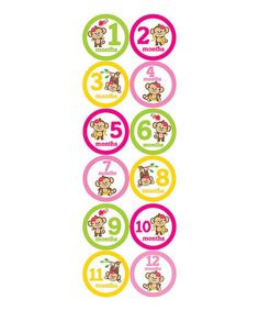 Look what I found on #zulily! Pink Monkey Collection Monthly Sticker Set by Month 2 Month Baby #zulilyfinds