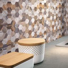 Woodlook Modern Wood Hexagon x PVC/Metal Peel & Stick Mosaic Tile (Part number: Peel Stick Backsplash, Peel And Stick Tile, Stick On Tiles, Kitchen Backsplash, Backsplash Ideas, Tile Ideas, Wood Panel Walls, Wood Wall, Pvc Wall
