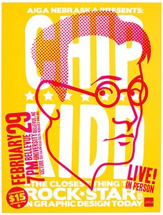 Poster for Chip Kidd at AIGA texture and bold simple shapes in yellow and red
