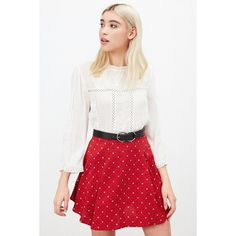 Kimchi Blue Simone Floral Skater Skirt ($59) ❤ liked on Polyvore featuring skirts, red, red high waisted skirt, white skater skirt, skater skirt, white flared skirt and high-waist skirt