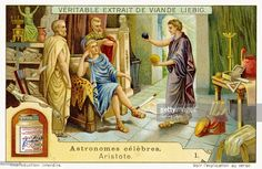 Aristotle at the court of Philip of Macedonia, educating his son the future Alexander the Great, aged 13. Teaching the boy about the laws of the Cosmos. Aristotle, Greek philosopher, a student of Plato: 384 BC – 322 BC. (Liebig series Famous Astronomers / Astronomes celebres).