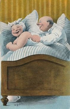 'Kiele kiele','Tickle tickle' - postcard illustration by Huber. Vieux Couples, Old Couples, Grow Old With Me, Growing Old Together, Old Folks, Psy Art, The Golden Years, Old Age, Grandma And Grandpa