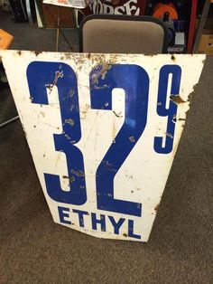 Large Direct Oil 31 & 32 Cent Double Sided Porcelain Ethyl Pricing Gas Oil Sign