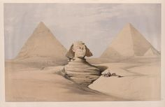 The Great Sphinx, Pyramids of Gizeh [Giza]. July 17th, 1839 by David Roberts