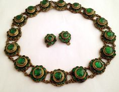 Vintage French Gripoix Poured Glass Emerald Necklace Earrings, possible Chanel Exclusively on Ruby Lane from VintageVogue