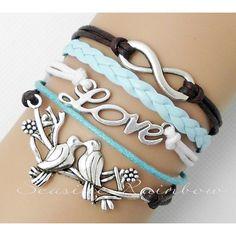Infinity bracelet-happy Birds bracelet-Love bracelet-Braid leather bracelet-bridesmaid bracelet-Best friend girlfriend boyfriend gift N232