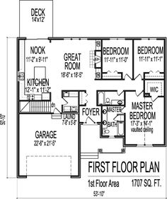 Contemporary Style House Plans 1700 Square Foot Home 1 Story