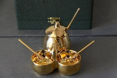 Vintage French Limoges Golden Condiment Set Salt by maintenant Condiment Sets, French Vintage, Salt, Unique Jewelry, Handmade Gifts, Etsy, Decor, Kid Craft Gifts, Decoration