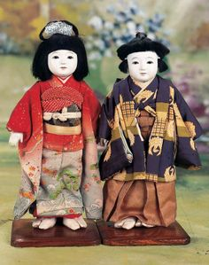 "Pair of Japanese Ichimatsu-ningyo dolls in original Costumes, Showa Era (about 1930""s), Japan"