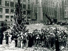 The first Christmas tree in Rockafeller Center, 1931. What a great tradition, the 2012 Rockefeller Center Christmas Tree will be lit for the first time on Wednesday, November 28, 2012.