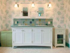 déco style anglais pour salle de bain et papier peints