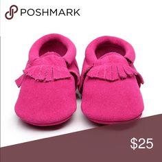 "Suede moccasins Super cute magenta suede Moccs! Super soft and comfortable! 💗 5"" sole boutique Shoes Baby & Walker"