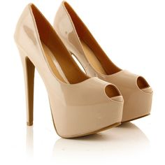 Nude Peep Toe Platform Heel found on Polyvore