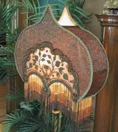 Victorian wire lampshade frames, lamp shade frames, beaded trims, fringe