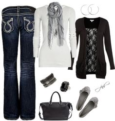 """Black+Gray""  Love this whole outfit."