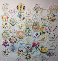 My Hexagon Crazy Quilt is progressing rather nicely. I am finished with the remainder are needing to be embellished. By Rhonda Dort Hexagon Patchwork, Crazy Patchwork, Hexagon Quilt, Square Quilt, Quilting Projects, Sewing Projects, Quilting Ideas, Vintage Quilts, Vintage Linen