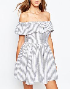 Image 3 of The Jetset Diaries Mulher Bonita Dress in Stripe with Frill Bardot