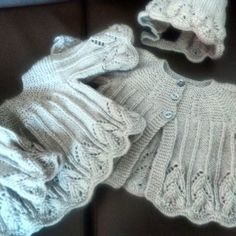 Beautiful lacy  baby  dress and jacket with bonnet in dove grey £20.00