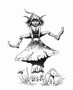 🍄Fairy Folk And Their Kin🍄 🌷 There are many types of fairy folk that are commonly experienced and fun to learn about. (This is Part 🌷 Imps 🌷 🍄 Watch out for. Woodland Creatures, Cute Creatures, Magical Creatures, Fantasy Creatures, Goblin Pictures, Elfen Tattoo, Cartoon Drawings, Art Drawings, Tattoo P