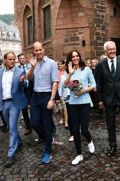 July 20, 2017—Kate laced up her favorite Supergas for awalkthrough Heidelberg's historic center wearing jeans and a Breton striped t-shirt. BUY NOW #climbingoutfit