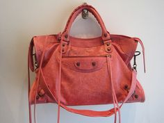 Salmon colored leather distressed purse
