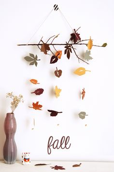 DIY Fall leaves hanging mobile.