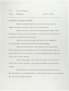 """In Event of Moon Disaster"" speech (never read) for Nixon to read if things hadn't gone as expected. Written by Bill Safire"