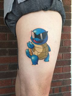 My Squirtle tattoo done by Tiffany Pitsos at North Main Tattoo Studio in Plymouth MI Gamer Tattoos, Anime Tattoos, Star Tattoos, Sleeve Tattoos, Tattoos For Guys, Charmander Tattoo, Pokemon Tattoo, Nintendo Tattoo, Gaming Tattoo