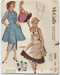 vintage McCall's sewing pattern 1828 - wonderful 1950s halter neck aprons.