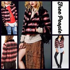 """FREE PEOPLE Plaid Military Jacket Bomber Coat RETAIL PRICE: $248  NEW WITH TAGS   FREE PEOPLE Military Red Black Plaid Bomber Jacket  * Front pockets & double breasted silver military button closure * Incredibly soft * Long sleeves & contrasting collar  * About 25"""" long * Allover plaid in black, red, & Ivory    Fabric: 70% polyester & 30% mohair wool. Fully lined, cotton-polyester blend Color: Black Plaid Combo  No Trades ✅ Offers Considered*/Bundle Discounts✅ *Please use the 'offer' button…"""