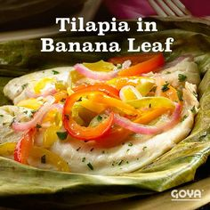 Have you ever cooked in banana leaves? Try these oven-baked tilapia fillets marinated in tangy, savory GOYA® Bitter Orange Mojo. Pork Recipes, Fish Recipes, Seafood Recipes, Chicken Recipes, Dinner Recipes, Mexican Recipes, Baked Tilapia Fillets, Oven Baked Tilapia, Goya Recipes Puerto Rico
