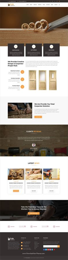 Fab is clean and modern design #PSDtemplate for #carpenter #website with 3 homepage layouts and 28 layered PSD files to live preview & download click on Visit