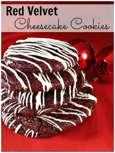 Red velvet cheesecake cookies have a cheesecake filling and a drizzle of white chocolate. Cheesecake meets red velvet can't get better than that!