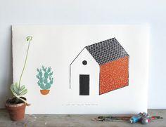 Cactus, casa - limited edition linocut print