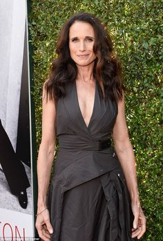 Age-defying: Andie MacDowell, 59, made sure all eyes were on her as she arrived to the AFI Lifetime Achievement Gala held at the Dolby Theatre in Los Angeles on Thursday