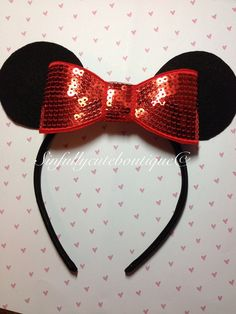 Minnie Ears with red sparkly bow - I need this . . . .