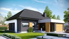 Find home projects from professionals for ideas & inspiration. Projekt domu HomeKONCEPT 27 by HomeKONCEPT My Home Design, Home Design Plans, Modern House Design, Beautiful House Plans, Beautiful Homes, Style At Home, Modern Properties, Contemporary House Plans, Facade House