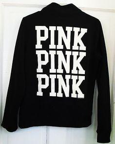 victorias secret pink half zip sweatshirt black small