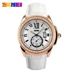75503a8451d SKMEI Watch Women Fashion Casual Quartz Watches Diamonds Leather Strap  Sport Ladies Dress Wristwatches Clock Feminino Relogios