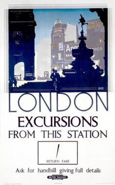 20x30 London Wembley 1920s Vintage Style UK Travel Poster