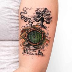 """In a hole in the ground lived a hobbit ."" For lovers of the Hobbit and The Lord . - ""In a hole in the ground lived a hobbit …"" For lovers of the Hobbit and The Lord of the Rings, th - Tolkien Tattoo, Tatouage Tolkien, Hobbit Tattoo, Lotr Tattoo, Tattoo Diy, Fake Tattoo, Bild Tattoos, Body Art Tattoos, Tatoos"