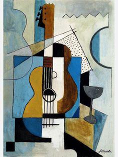 Cubist Paintings, Cubist Artists, Cubist Drawing, Modern Art Paintings, Indian Paintings, Oil Paintings, Music Painting, Painting Art, Guitar Painting