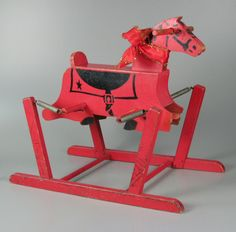 Red Wooden Rocking Horse