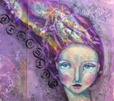 Artsy Goodness Round Robin Journal Page using Jane Davenports awesome face stencils