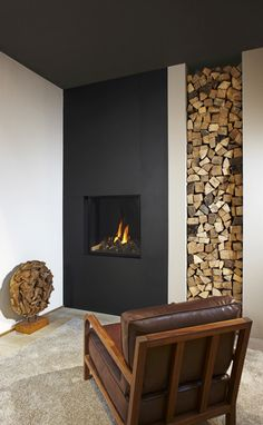 The design of this room makes the fireplace blend in perfectly.