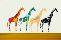 Patterned giraffes great for nurseries