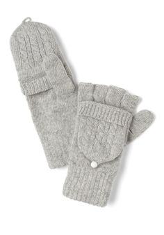 Close to Coast Convertible Gloves in Cloud - Grey, Solid, Knitted, Winter (modcloth $17.99)